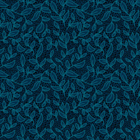 Organic leaves vector textured seamless pattern. Blue leaf background