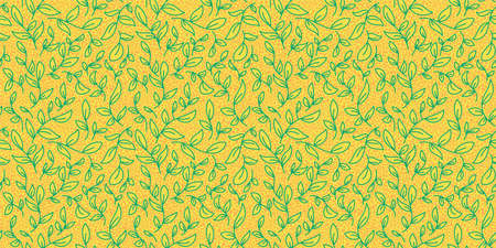 Spring leaves vector textured seamless pattern. Green leaf background