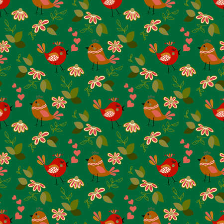 Spring floral seamless pattern with cute daisy and love birds