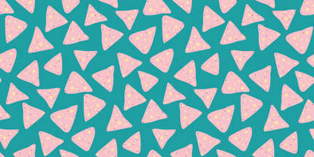 Pink nachos, tortilla fried chips seamless pattern on blue background. Mexican food vector design 矢量图片