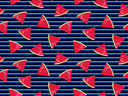 Watermelon pattern design with striped geometric background