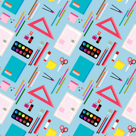 school pattern. Education background. Back to school seamless pattern. School supplies, objects, comasses, colored crayons, erasers, scissors, paper clips, sharpeners, ruler, glue, notebook Ilustração Vetorial