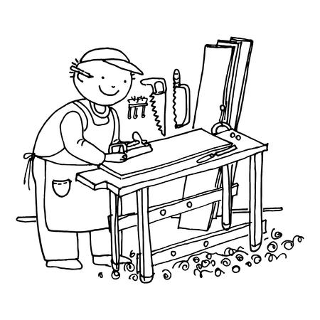 Carpenter cabinetmaker vector doodle hand drawn sketch