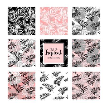 Set van tropische naadloze patroon met silhouetten van palmbladeren. Jungle design. Vector illustratie achtergrond.