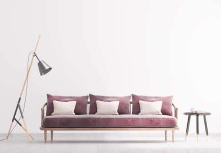 Bright modern interior living room, floor lamp and wooden side table. Scandinavian style, white interior background. Bright stylish room mock up. 3d render Imagens