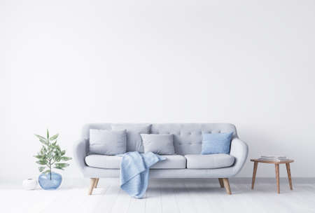 Bright room interior mock up for grey and light blue couch, beside wooden coffee table with books on it. Blue glass vase with green plant. White bright wall. Empty wall concept. Imagens