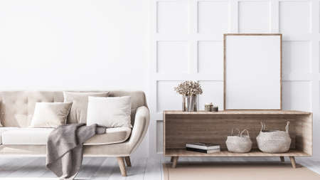 Interior design frame mock of trendy living room with elegant beige sofa, wooden coffee table, and rattan stylish accessories. wall paneling. Modern home decor. Template Reklamní fotografie - 151114761