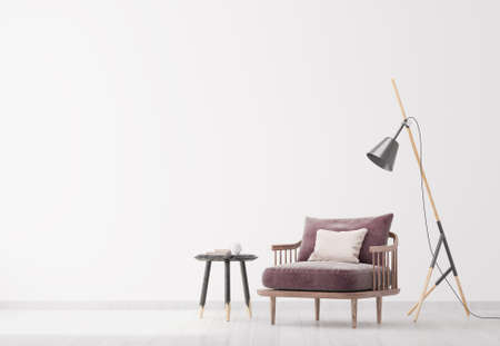 Bright modern interior living room, floor lamp and wooden side table. Scandinavian style, white interior background. Bright stylish room mock up. Imagens