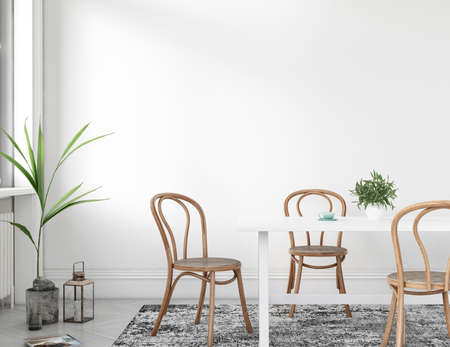 Interior dining room in white background, Scandinavian style with green plants and wooden chairs