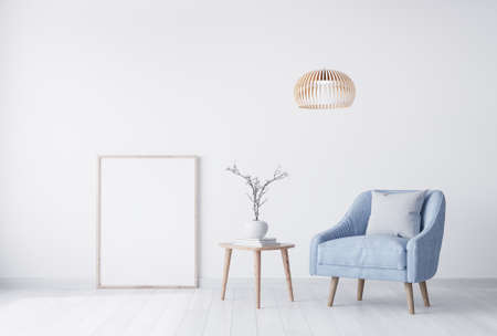 Mock up poster interior for living room, pastel blue armchair in white background. Minimal modern home decor. Scandinavian style.