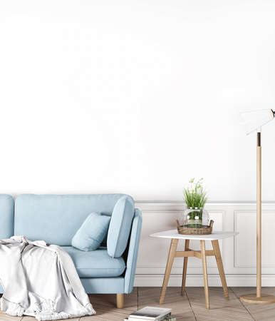 Cozy Interior Mock up on empty white wall, blue Sofa In Living Room, Scandinavian Style, 3D Render
