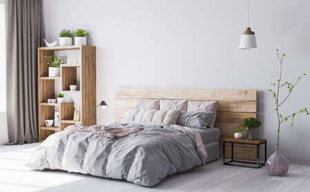 Wooden bedroom interior in beige and baby pink color, cozy bedroom interior design