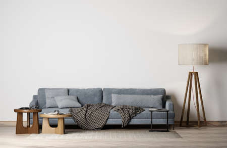 Modern interior with  Blue sofa, floor lamp and empty white background wall, minimal home decor Imagens