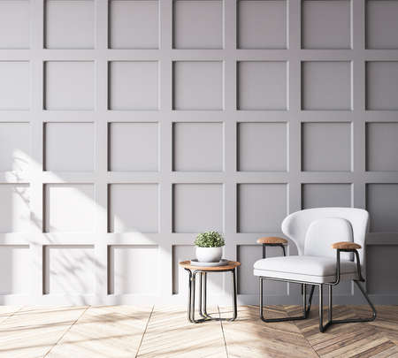 Wooden chair in Scandinavian living room with gray wooden wall paneling, home decor