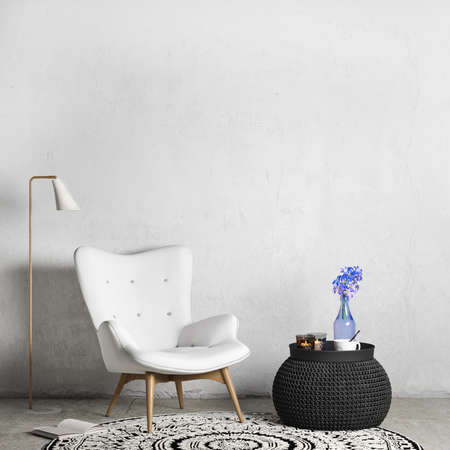 Interior mock up of living room with white chair, black coffee table, Panorama photo. 3d rendering, illustration Imagens