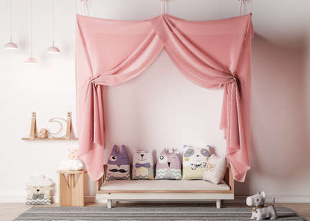 Pink canopy in kids playroom, stuffed animals, wooden toys and ceiling lamp on bright Scandinavian interior. Pastel colors in children room Imagens