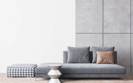 Living room interior design in white and concrete background, 3D render. illustration