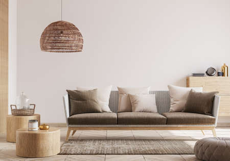 Cozy living room interior, Scandinavian style mock up. Rattan ceiling lamp , wooden table, furniture and elegant wooden home accessories.