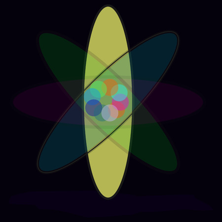 nuclear fusion: Atomic atmosphere. Vector graphic eps 10.