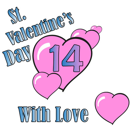 14: St.Valentines Day. Hearts. 14 February.With Love. Vector Graphic Eps10