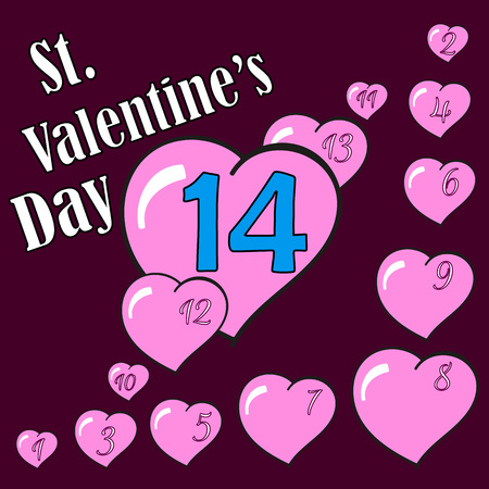 14 february: St.Valentines Day. Hearts. 14 February. Vector Graphic Eps10