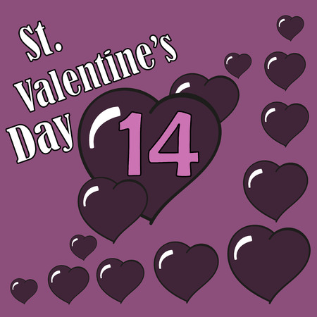 14 of february: St.Valentines Day. Hearts. 14 February. Vector Graphic Eps10
