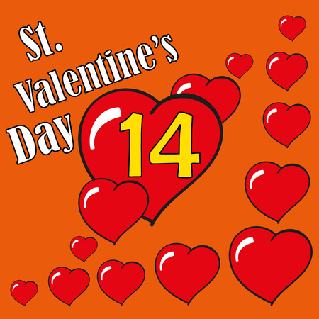 14: St.Valentines Day. Hearts. 14 February. Vector Graphic Eps10