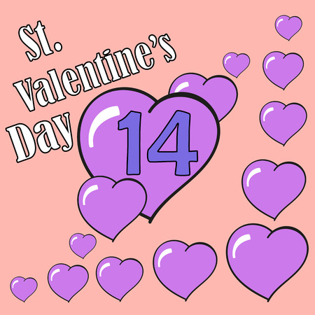 14 of february: St.Valentines Day. 14 February. Heart.Vector Graphic Eps10 Illustration