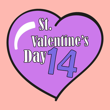 14 february: St.Valentines Day. 14 February. Heart. Vector Graphic Eps10 Illustration