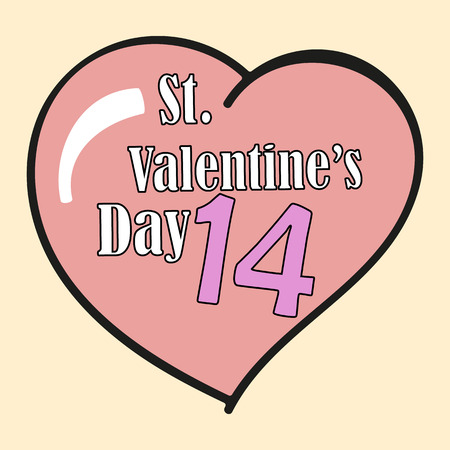 14: St.Valentines Day. 14 February. Heart. Vector Graphic Eps10 Illustration