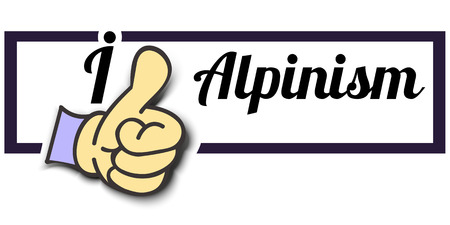 alpinism: Frame I Like Alpinism Thumb Up! Vector graphic logo eps10.