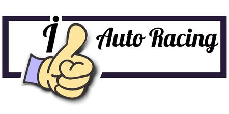 auto racing: Frame I Like Auto Racing Thumb Up! Vector graphic logo eps10.