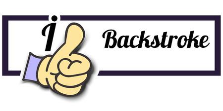 backstroke: Frame I Like Backstroke Thumb Up! Vector graphic logo eps10.
