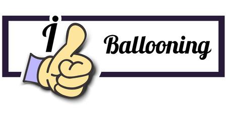 ballooning: Frame I Like Ballooning Thumb Up! Vector graphic logo eps10.