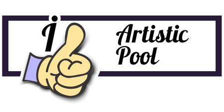pool player: Frame I Like Artistic Pool Thumb Up! Vector graphic logo eps10.