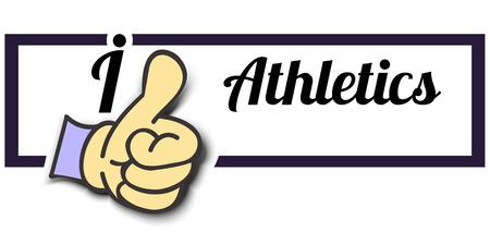 athletics: Frame I Like Athletics Thumb Up! Vector graphic logo eps10.