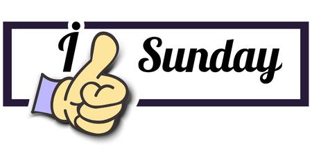 i like: Frame I Like Sunday Thumb Up! Vector graphic logo eps10. Illustration