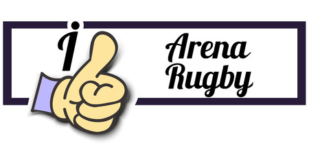 arena: Frame I Like Arena Rugby Thumb Up! Vector graphic logo eps10. Illustration