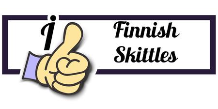 finnish: Frame I Like Finnish Skittles Thumb Up! Vector graphic logo eps10.