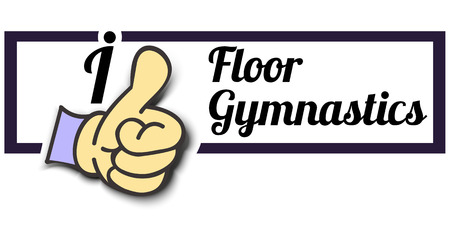 Frame I Like Floor Gymnastics Thumb Up! Vector graphic logo eps10.