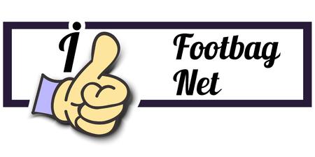 i net: Frame I Like Footbag Net Thumb Up! Vector graphic logo eps10. Illustration