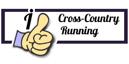 crosscountry: Frame I Like Cross-Country Running Thumb Up! Vector graphic logo eps10.