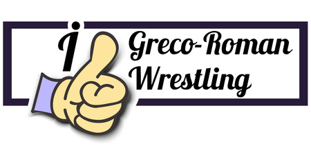 greco roman: Frame I Like Greco-Roman Wrestling Thumb Up! Vector graphic logo eps10.