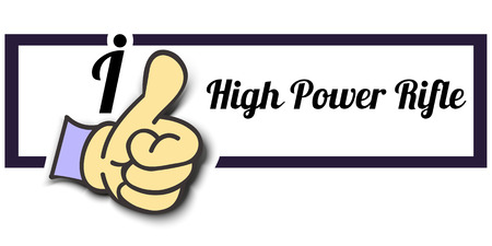high up: Frame I Like High Power Rifle Thumb Up! Vector graphic logo eps10.