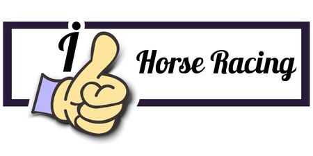 horse like: Frame I Like Horse Racing Thumb Up! Vector graphic logo eps10. Illustration