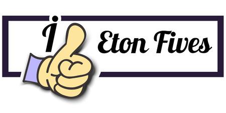 "Frame ""I Like Eton Fives"" Thumb Up! Vector graphic logo eps10."
