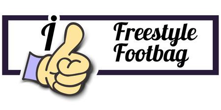 freestyle: Frame I Like Freestyle Footbag Thumb Up! Vector graphic logo eps10.