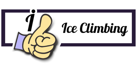 ice climbing: Frame I Like Ice Climbing Thumb Up! Vector graphic logo eps10. Illustration