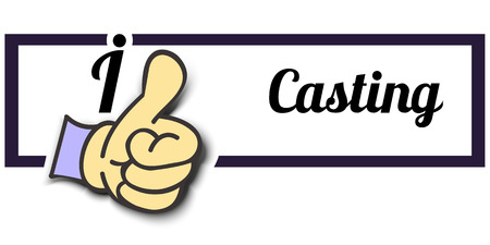 casting: Frame I Like Casting Thumb Up! Vector graphic logo eps10.