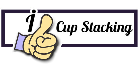 stacking: Frame I Like Cup Stacking Thumb Up! Vector graphic logo eps10.